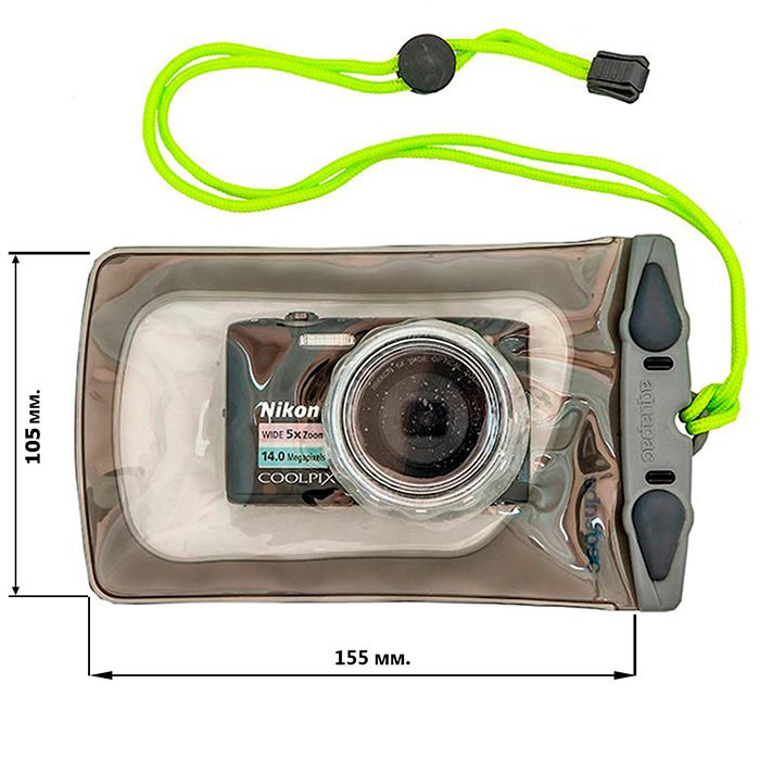 Водонепроницаемый чехол Aquapac 428 - Mini Camera Case with Hard Lens (Cool Grey)
